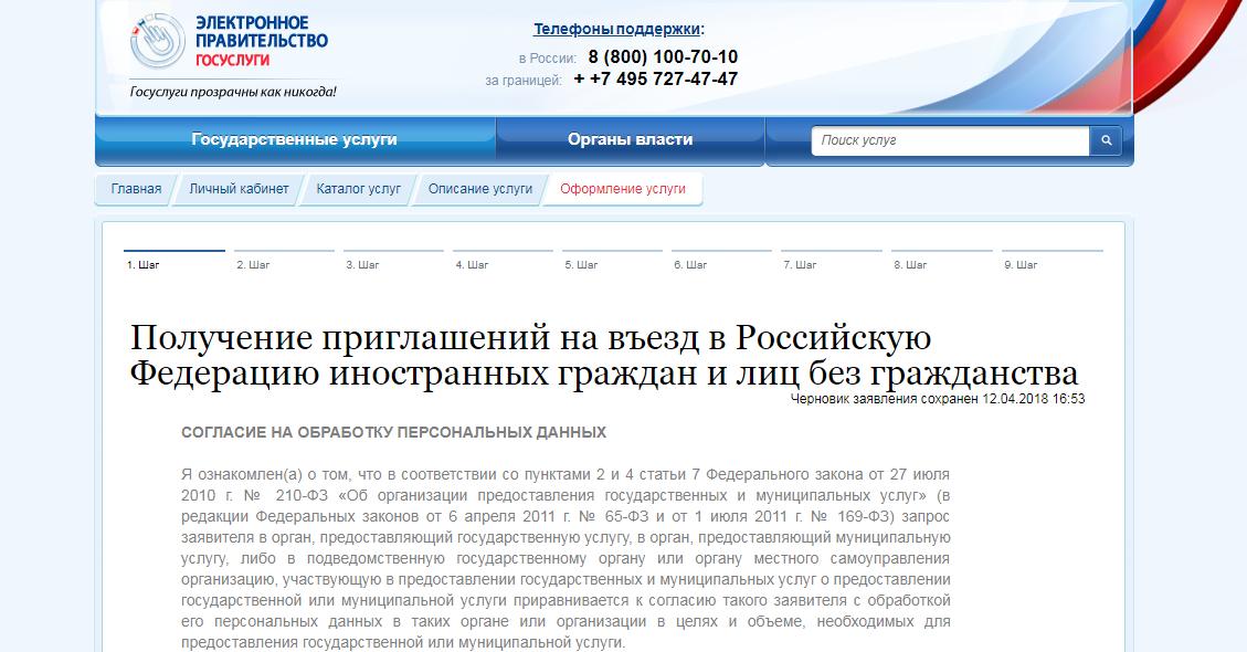 Приглашение иностранца в Россию через Госуслуги шаг 6