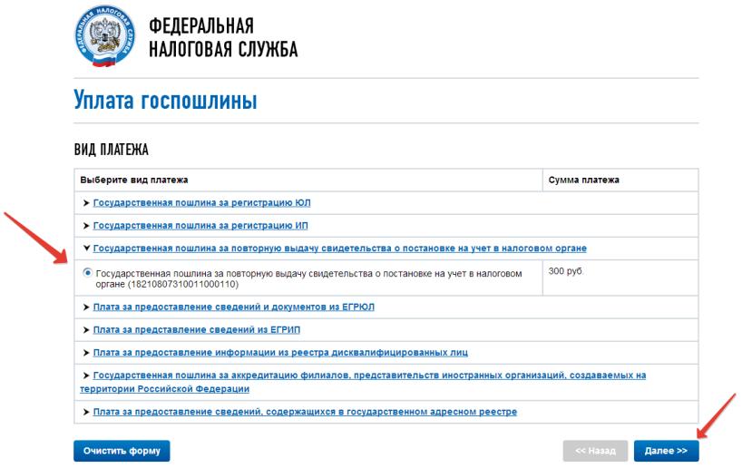 Оплата госпошлины через сайт ФНС шаг 3