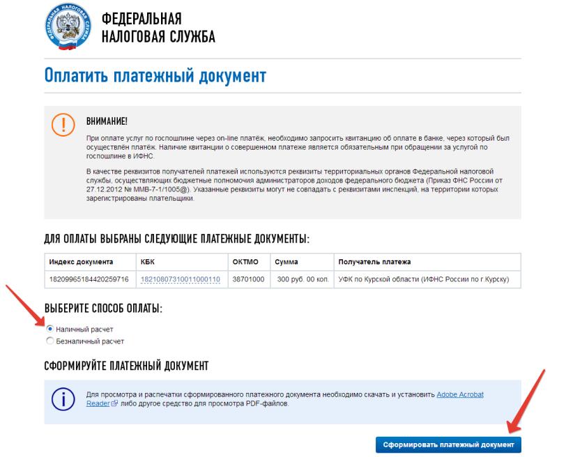 Оплата госпошлины через сайт ФНС шаг 6